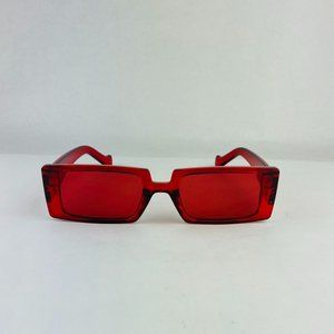 awesome rectangle translucent red sunglasses